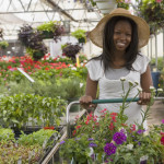 woman shopping at a garden nursery