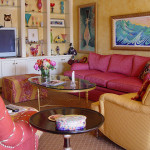 brightly patterned and colored living room