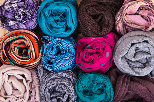 scarves rolled