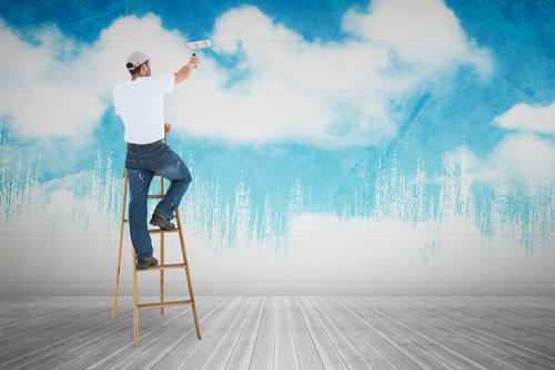 redecorating painting wall sky clouds