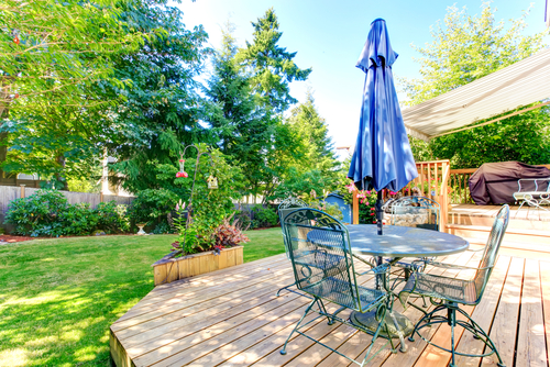backyard deck lawn umbrella