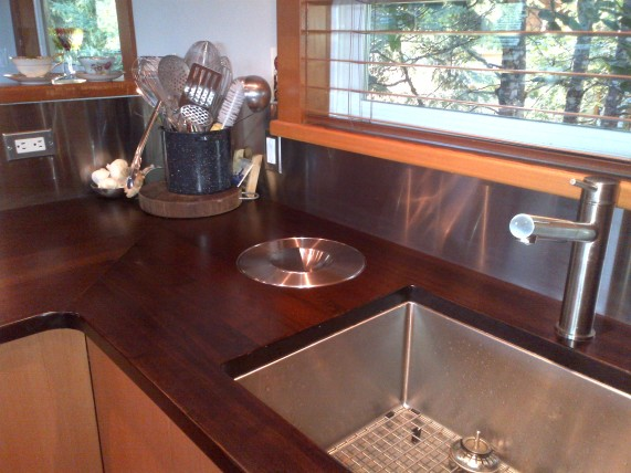 countertop with inboard composting