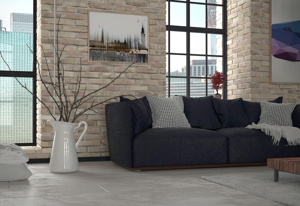 Exposed Brick Industrial Chic Living Room. Interior Brick Walls ...