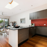 stylish kitchen and living room laminate floors