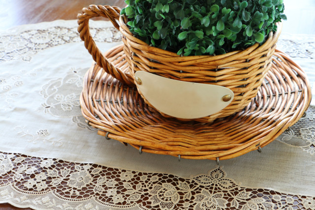 fake plant wicker table centerpiece