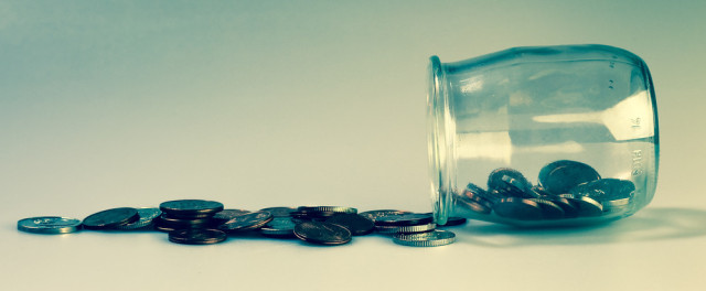 coins jar money spill