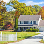 New England colonial house in autumn