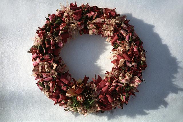 earthy red ribbon wreath