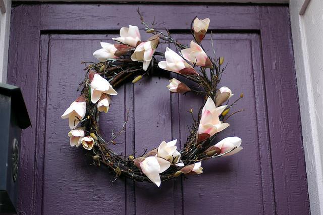 floral wreath purple door