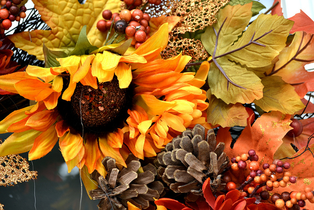 autumn wreath close up