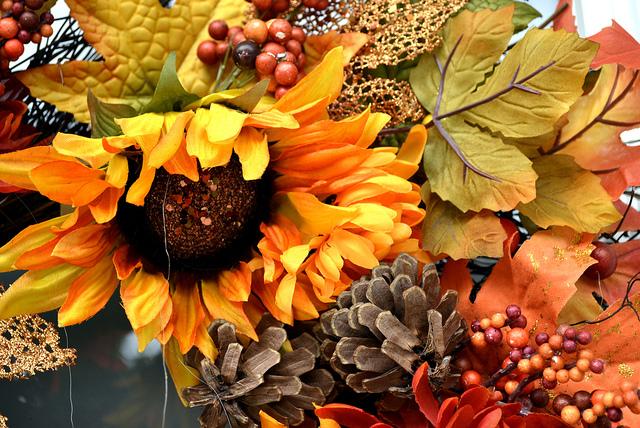 autumn wreath close up