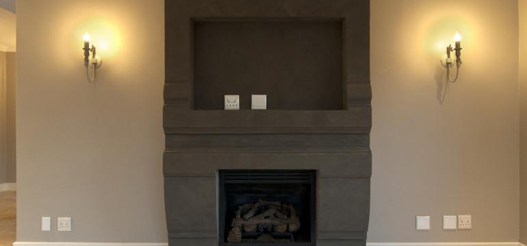 empty fireplace travertine tile floor