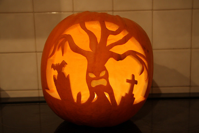 pumpkin carving haunted forest