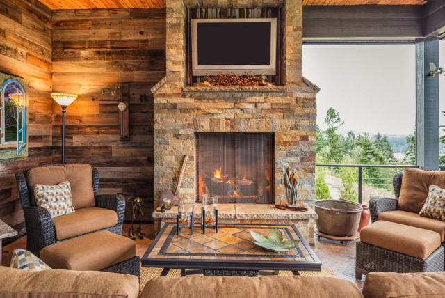 fireplace rustic decor outdoor room