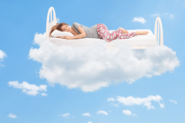 sleeping woman clouds mattress