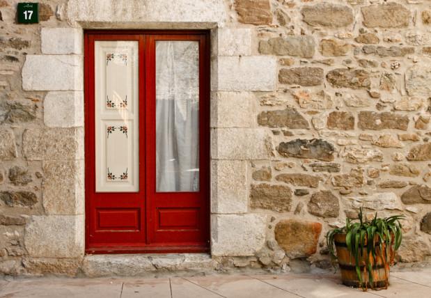 european door flower pot exterior
