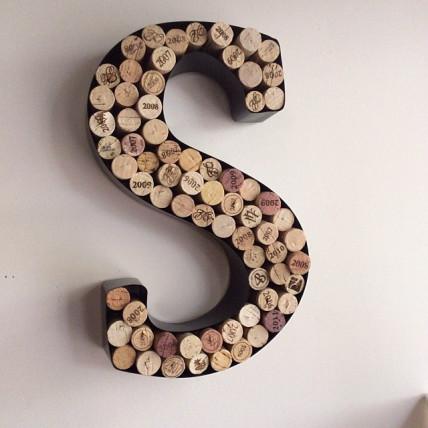 wine cork decor wall monogram