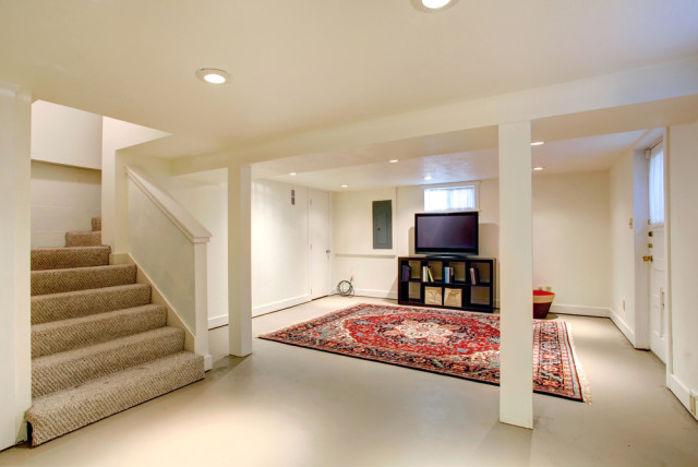 Basement Remodel Area Rug Tv Room