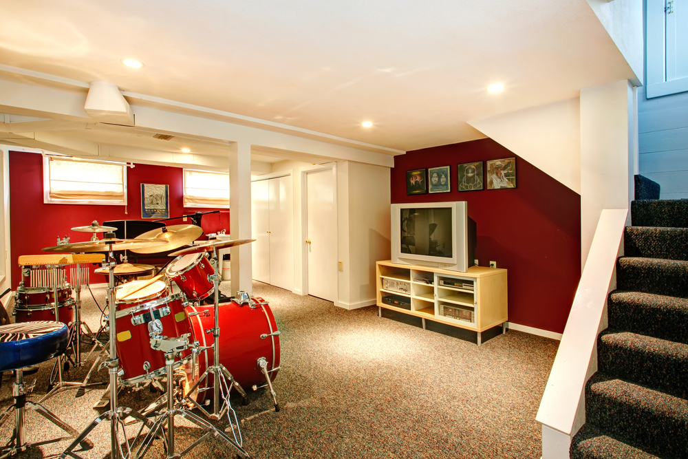 Small Basement Design Ideas small basement designs good small basement bedroom design ideas pictures Finished Basement Remodel Drum Kit