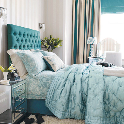 blue bedroom headboard