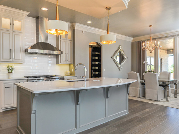 modern kitchen white grey flooring