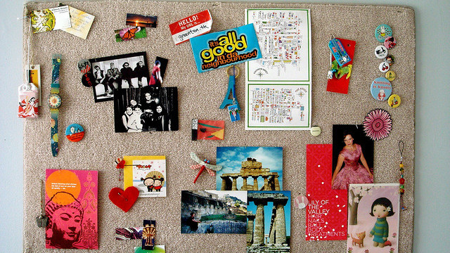 inspiration board mounted on carpet