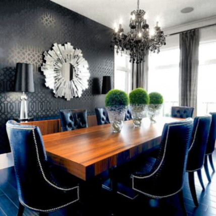 royal blue grey brown dining room