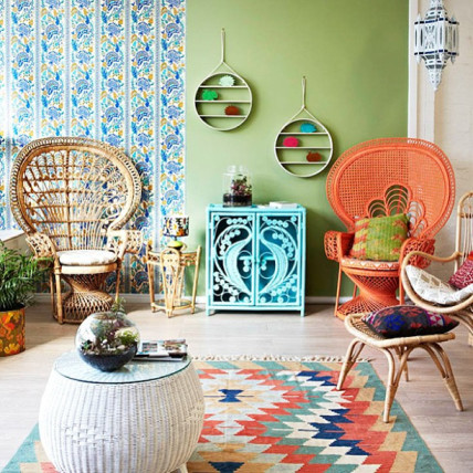 complementary colors wicker chairs