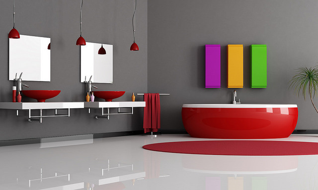 complementary colors red and white modern bathroom