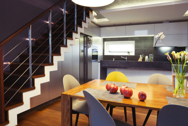 kitchen breakfast nook stairs