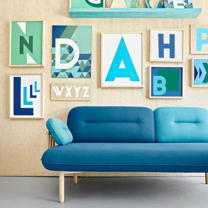 modernist blue couch