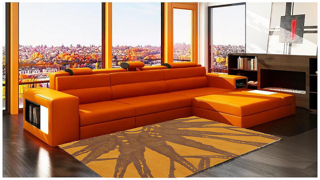 orange sofa modernist decor