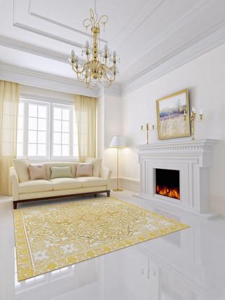 elegant living room yellow throw rug white fireplace