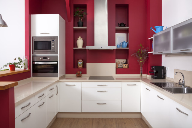 red kitchen modern