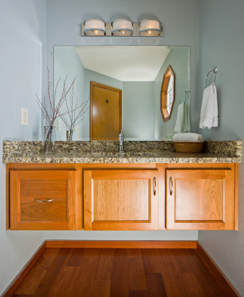 powder room bathroom floating cabinets
