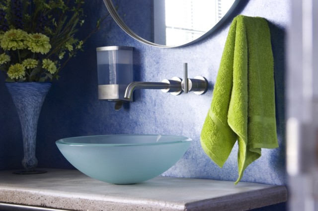 modern bathroom green face towel