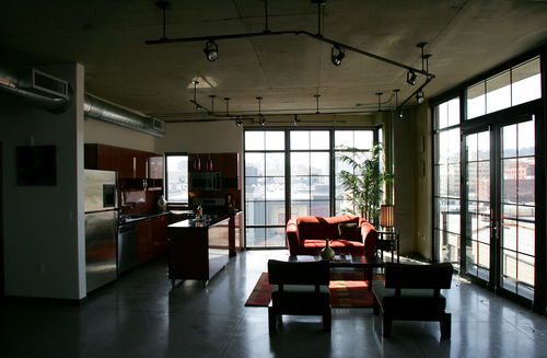 industrial loft space living room