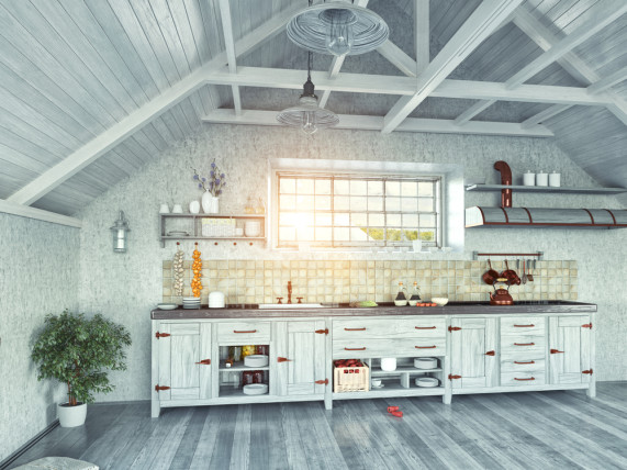loft industrial kitchen design 3D
