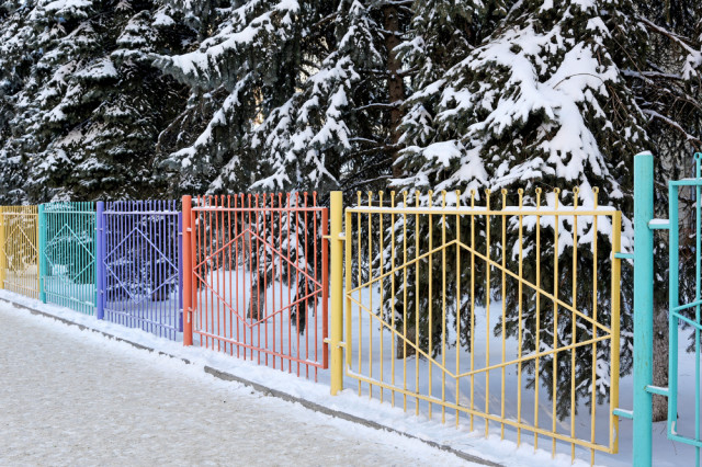 colorful fence winter