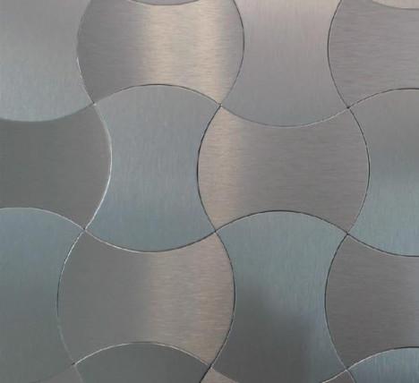 Salerno Mosaic Tile - Peel & Stick Metal Series silver wave pattern