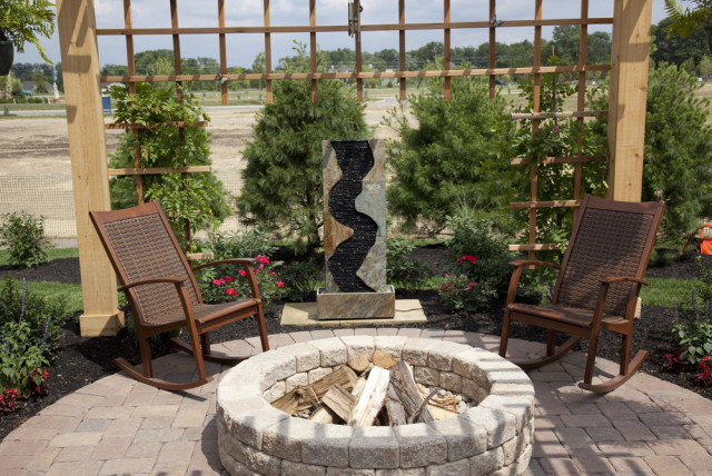 patio furniture firepit shrubbery