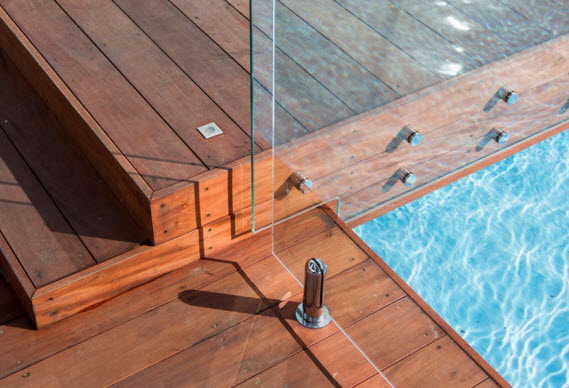 wood decking and pool surround