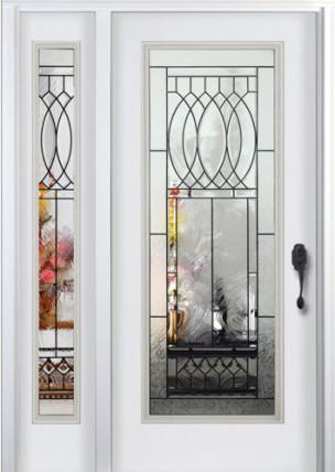 steel exterior front door with sidelite