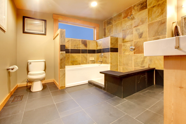 stone tile floor bathroom