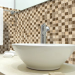 glass blend mosaic bathroom backsplash