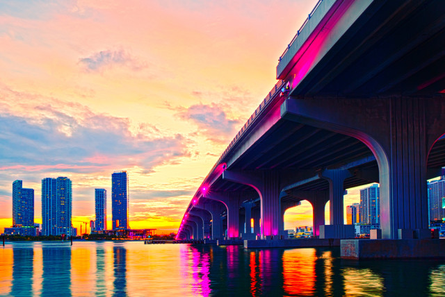 miami florida architecture skyline sunset