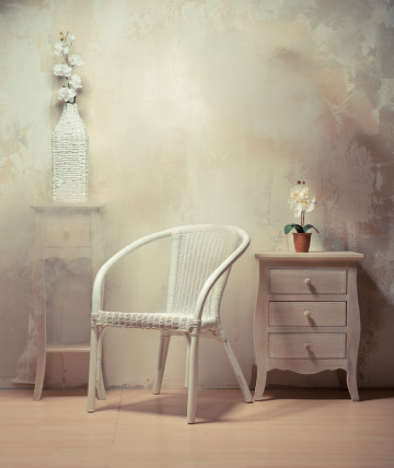 wicker chair and sidetable