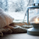 winter window lantern pillow blanket
