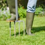 backyard mainteance rubber boots pitchfork