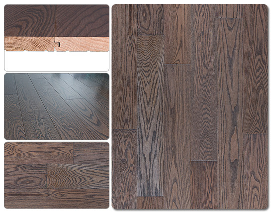 Red oak stained hardwood flooring